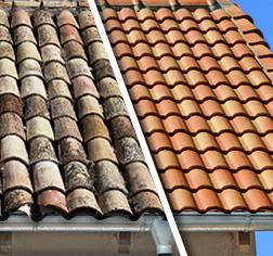 Nettoyage de toitures sur l'ile de Ré Avant / Après